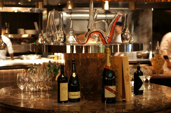 Basilico Regent Singapore - Gastronomic Italian Journey - Display of Wines and Champagne