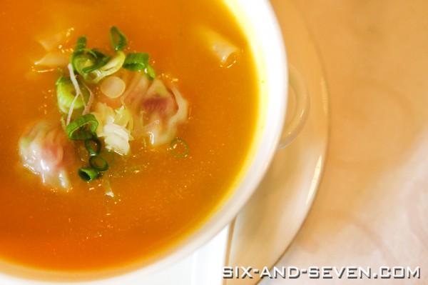 Jade The Fullerton Hotel - Peking Duck Extravaganza - Pumpkin Soup with Duck & Shrimp Wanton