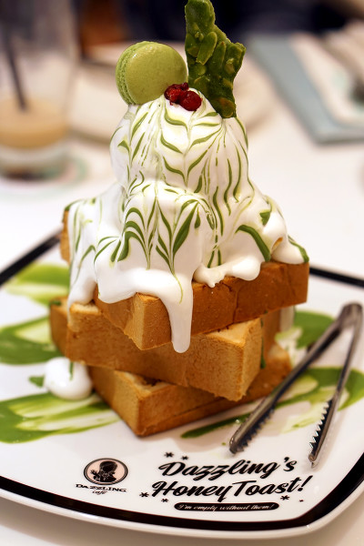 Dazzling Cafe Singapore, Capitol Piazza - Matcha Red Bean Honey Toast with Condensed Milk