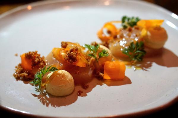 Maggie Joan's Dining & Bar - 110 Amoy Street - Yellow Tail Sashimi, Carrots and Brandade
