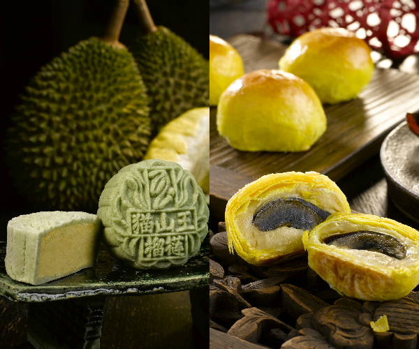 Peony Jade Mooncakes 2015 - Mao Shan Wang Durian Mooncake in Organic Pandan Snow Skin and Mini Century Eggs Pastry Mooncakes