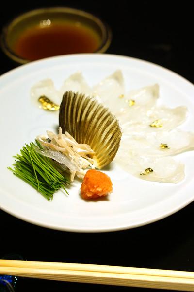 Mikuni Fugu Grand Tasting Menu - Fairmont Singapore - Globefish Sashimi, Baby Leek, Ponzu