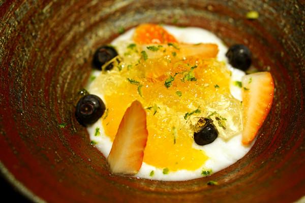 Mikuni Fugu Grand Tasting Menu - Fairmont Singapore - Hokkaido Organic Yogurt, Strawberry, Blueberry, Orange, Wine Jelly