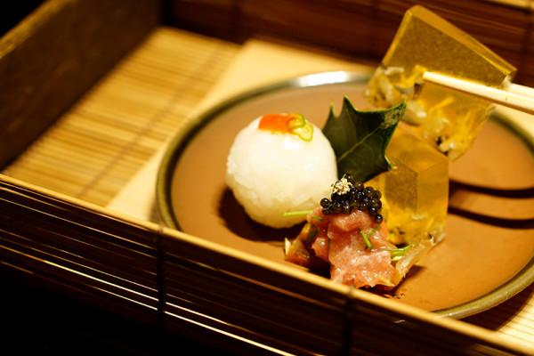 Mikuni Fugu Grand Tasting Menu - Fairmont Singapore - Otoushi of Globefish Skin Jelly, Miso, Sushi Ball, Fugu Mirin Boshi, Caviar