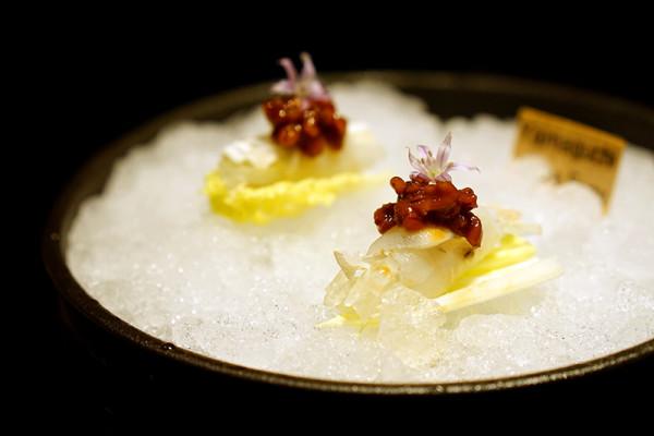 Mikuni Fugu Grand Tasting Menu - Fairmont Singapore - Tataki Globefish, Seasonal Japanese Mini Cabbage