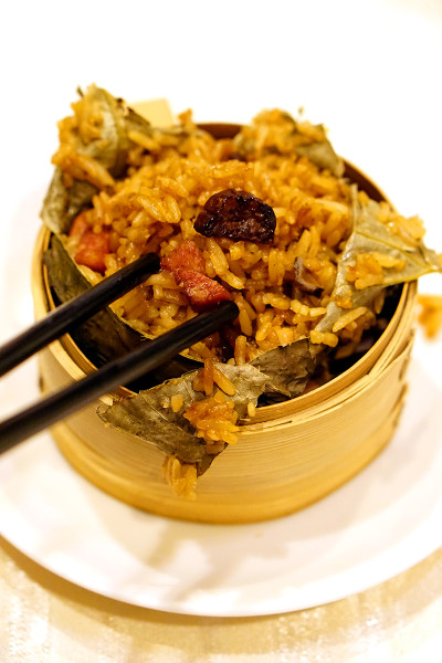 Chinese New Year 2016 - Wan Hao Chinese Restaurant, Singapore Marriott Tang Plaza Hotel - Glutinous Red Rice with Chinese Sausage, Dried Shrimps & Mushroom Closeup