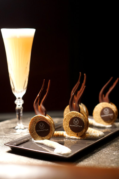 Manhattan Bar Regent Singapore, A Four Seasons Hotel - Harlem District Menu - Gin & Juice and Banana Cream Cookies