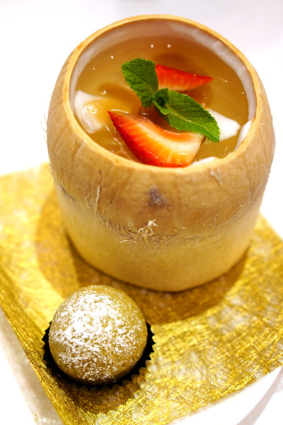 Master Chef Steven Ng of Shang Palace, Shangri-La Hotel Singapore - Exquisite Abalone Cuisine - Chilled Sea Coconut Jelly, Mixed Fruit, Whole Coconut