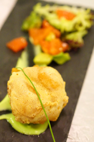 Crystal Jade Prestige at Marina Bay Financial Centre - Deep-fried Scallop with Salted Egg Yolk and Chilled Organic Tomato served with Avocado Sauce