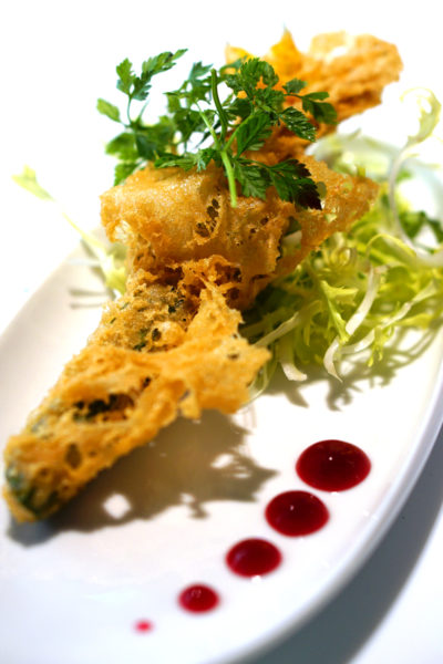 Grand Park Orchard Mitzo Restaurant & Bar - Ode to Spring Menu - Zucchini flower tempura stuffed with wasabi shrimp