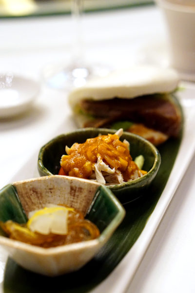 Shisen Hanten by Chen Kentaro, Mandarin Orchard Singapore - Trio of Appetisers - London Duck with Chinese Steamed Bun, Chilled Chicken with Sesame Sauce, Chilled Jellyfish with Pickles