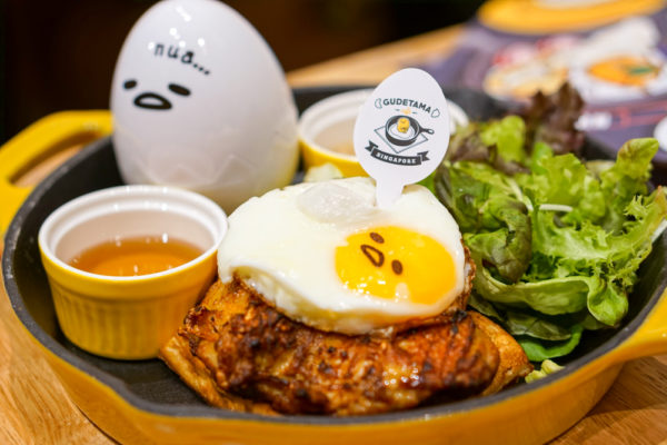 Gudetama Cafe Singapore - Lazy Egg Arrives in Singapore - Eggcited Cajun Chicken with Waffles