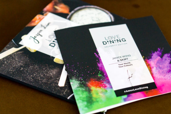 American Express Love Dining Celebrity Edition - Chef Janice Wong with Exec Sous Chef Christopher Ronald Hibbert - Booklet