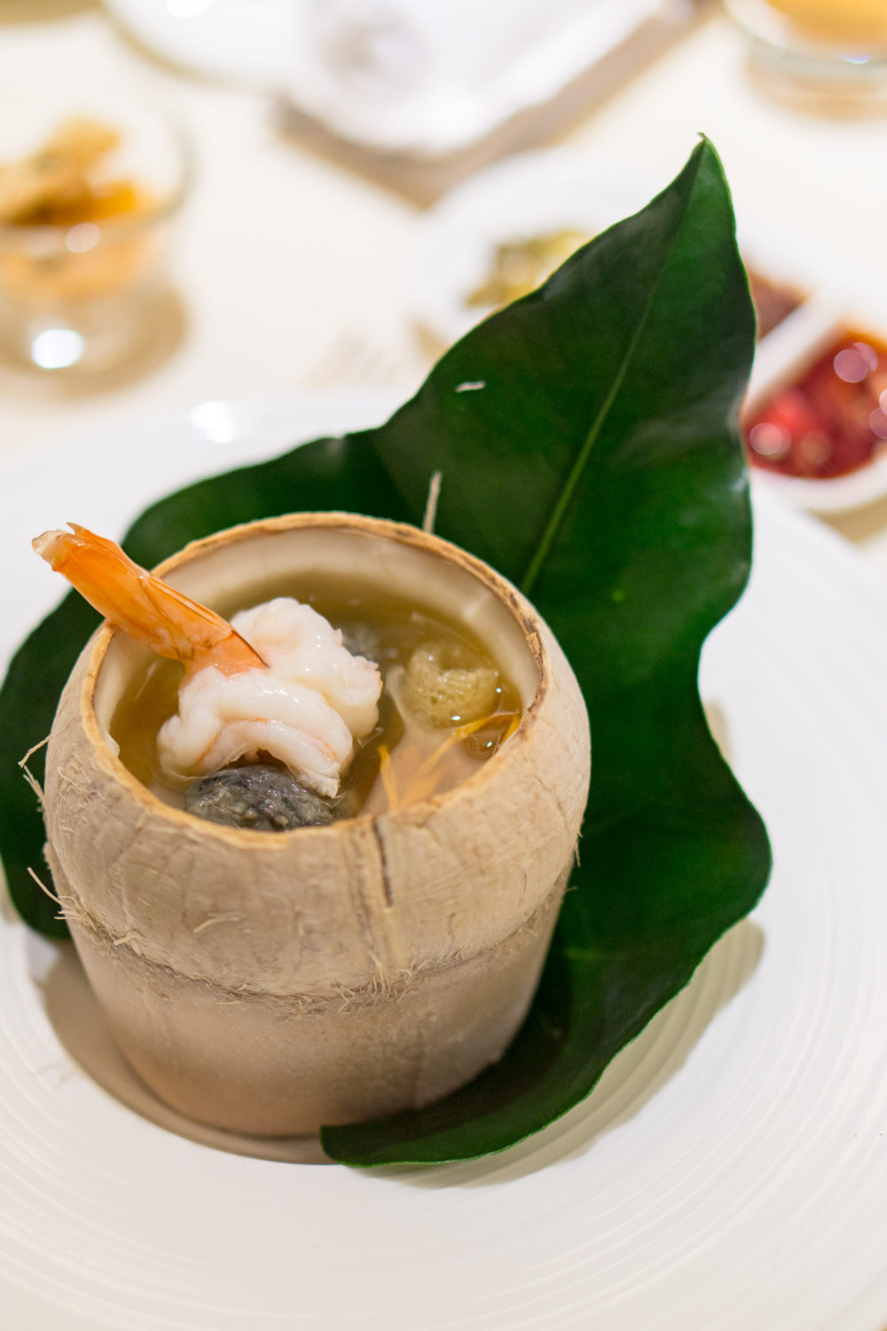 Chinese New Year 2018 - Golden Peony Conrad Centennial Singapore - Double-boiled Cordycep Flower Soup with New-Caledonia Obsiblue Prawn and Black Chicken in Whole Young Coconut